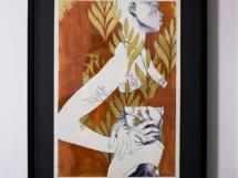 Laureada, 2018, esferográfica, acrílica e folhas de ouro, 29,7 x 42 cm Vito Quintans