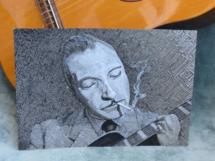 retrato de Django Reinhardt, nanquim preto sobre papel A4, 2013